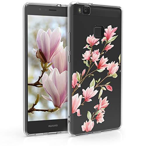 kwmobile Custodia Compatibile con Huawei P9 Lite - Cover Silicone TPU - Protezione Back Case - Magnolie Rosa/Bianco/Trasparente