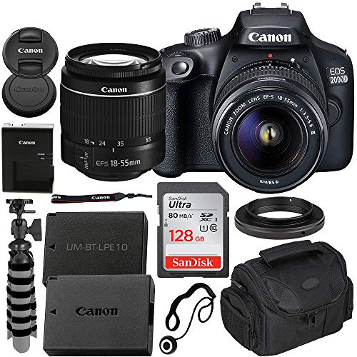 Canon EOS 2000D (T7) DSLR Camera with EF-S 18-55mm f/3.5-5.6 III Lens & Beginner Bundle - Includes: SanDisk Ultra 128GB SD Memory Card, Extended Life LPE10 Replacement Battery & More