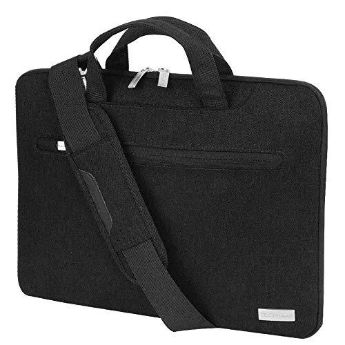 TECHGEAR Tasche für 15-15,6 Laptops - Tragbare Multifunktions Laptop hülle mit verstellbarem Schultergurt, Gepäckriemen und unterdrückbaren Griffen, Tragbarer Organizer Case mit Taschen - Schwarz