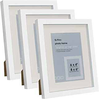 Q.Hou 6x8 White Picture Photo Frame with Mat, Mount for 4x6 Picture or 6x8 Picture Without Mat, 3 Packs, Real Glass Front ...