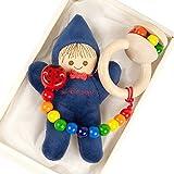 出産祝い ベビーギフト granpapa(グランパパ) ベビーぬいぐるみ 木のラトル おもちゃホルダー リサちゃんと天使のささやきのセット ギフトセット ネイビー 紺