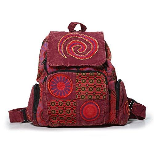 KUNST UND MAGIE Bunter Hippie Rucksack 'Spirale', Farbe:Rot