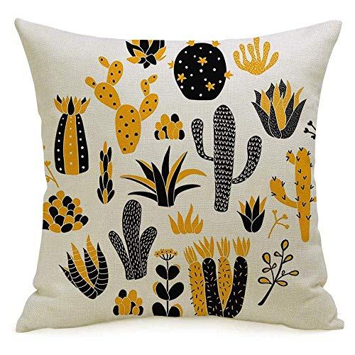 N\A Lino Decorativo Cuadrado Throw Pillow Cover Case Print Natural Green Cacti Garden Floral Summer Aislado Arreglado en Conjunto gráfico Circle Home Nature Funda de Almohada Cojín Sham for Couch