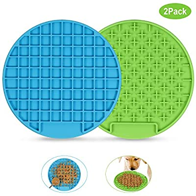 XZQTIVE Dog Lick Pad, Slow Feeder Dog Mat, Pet Dog Cat Peanut Butter Lick Mat, Dog Bathing Distraction Device for Pet Bathing, Grooming, and Dog Training (2 Pack, Blue & Green)