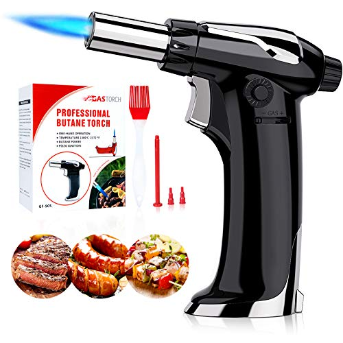 Ouddy Butane Torch Lighters Blow Kitchen Torch with Lock and Adjustable Flame for BBQ, Baking Desserts, with Brush and Installation Tool(Black)