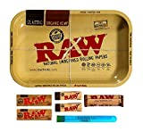RAW Rolling Tray Combo Includes Tray, 1 1/4 Classic Rolling Papers, 79 mm Rolling Machine, Original Tips, and Roll with...