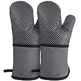 シリコンチェック 耐熱ミトン 鍋つかみ オーブンミトン シリコン手袋 滑り止め クッキング用 バーベキュー用 フリーサイズ 耐熱温度260℃(2個セット)19*35cm