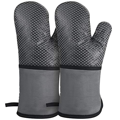 GoZheec Oven Mitts Heat Resistant up to 500 Degrees Kitchen Gloves Extra Long Sleeve Flexible Oven Gloves with NonSlip Silicone for Kitchen Cooking Baking Grilling2 PackGray