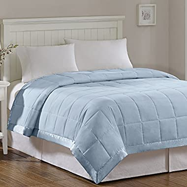 Madison Park Windom Microfiber Down Alternative Stain Resistant Blanket, Full/Queen, Blue