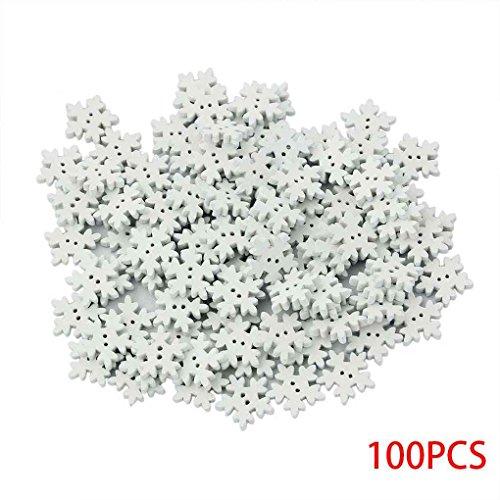 Aiming 100 Piezas de Madera de 18 mm del Copo de Nieve de Navidad Botones del Arte de DIY Blanca Copos de Nieve de la Hebilla de Costura de Madera