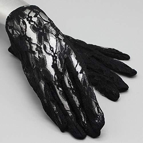 Charm4you Braut Fingerlose Handschuhe,Abendkleid Spitze mehrfarbige Handschuhe-Schwarz B_One Größe,Dame Handschuhe Spitze Lang Fingerlos Hochzeit Spitzen