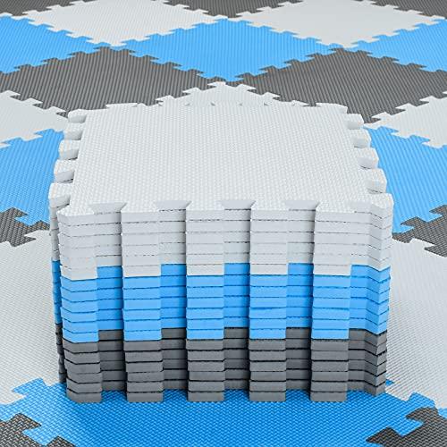 qqpp Alfombra Puzzle para Niños Bebe Infantil - Suelo de Goma EVA Suave. 18 Piezas (30 * 30 * 1cm), Blanco, Azul, Gris.QQC-AGLb18N