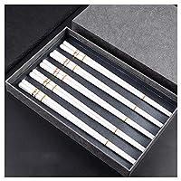 中国の箸ボーンチャイナ、箸磁器ギフトセットギフトボックス、箸再利用可能、食器洗い機で安全高温耐性、箸セット、ケース付き、5ペア-White C