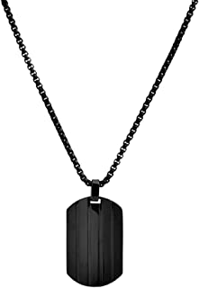 Stainless Steel Men's Patterned Dog Tag Necklace