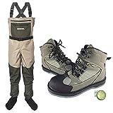 Muchen - Zapatos y pantalones para pesca con mosca, transpirables, suela de fieltro, suela de fieltro, antideslizantes, para caza