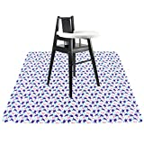 Langsprit 53'' Splat Mat for Under High Chair - Washable Splash Mat Anti-Slip Mess Mat Portable Play Mat,Table Cloth for Art/Crafts,Turtle