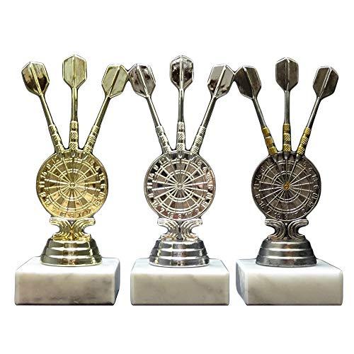 RaRu 3 Dart-Pokale (Gold, Silber, Altsilber) mit Ihrer Wunschgravur