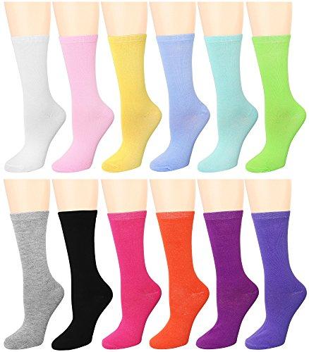 12 Pairs Women's Crew Socks (12 Assorted) 446-4-B96004