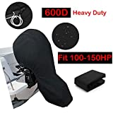 Silvotek Boat Motor Covers - Full Outboard Motor Cover with 600D Heavy Duty Oxford Fabric + Extra PVC Coating,Waterproof Outboard Engine Covers Fit for Motor