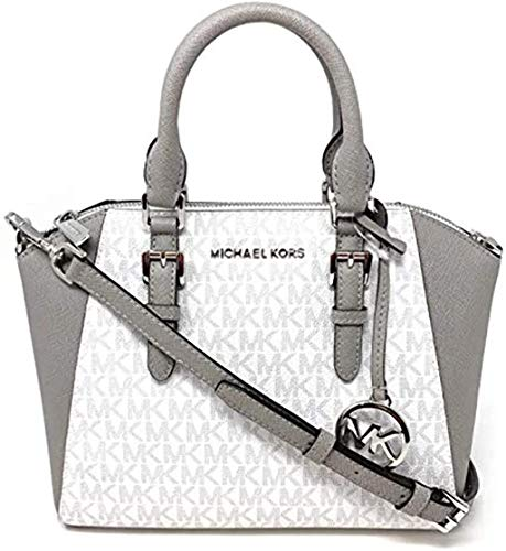 """Made of MK logo PVC and Saffiano leather Removable and adjustable crossbody strap, wear three ways, crossbody, over the shoulder or carry by hand Top zip closure Outside 1 back slip pocket, inside 1 slip pocket and 1 zip pocket 10.5""""L x 7.5""""H x 4""""D"""