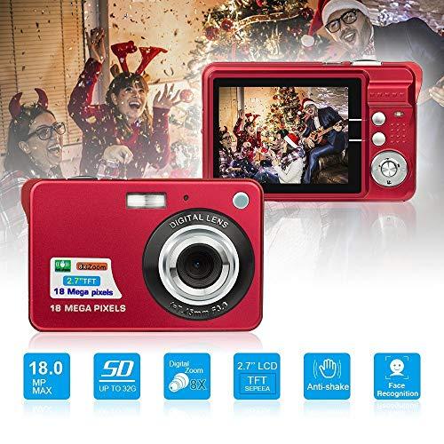 YJJ Mini-Digitalkamera, Mini-Digitalkamera Pocket-Kameras Digital mit Zoom für Urlaub Familie, Freunde, Kinder, Schule, 2,7 Zoll,Rot