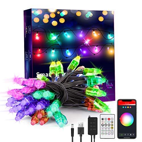 LED Lichterkette außen 5M, Smart RGB Lichterkette Strom Sync zur Musik, Farbwechsel, Dimmbar, Wasserdichte Weihnachtsbeleuchtung steuerbar via App, Fernbedienung, kompatibel mit Alexa, Google Home