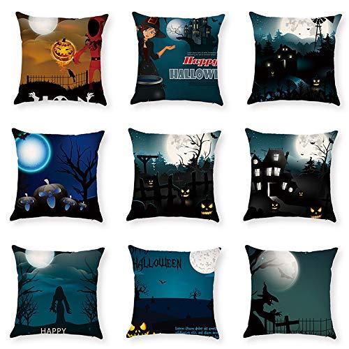 KTLRR (41 Options Halloween décoratifs Taie d'oreiller carré de 9 pcs 45,7 x 45,7 cm, Microfibre, Wsj 15, 45 x 45 cm