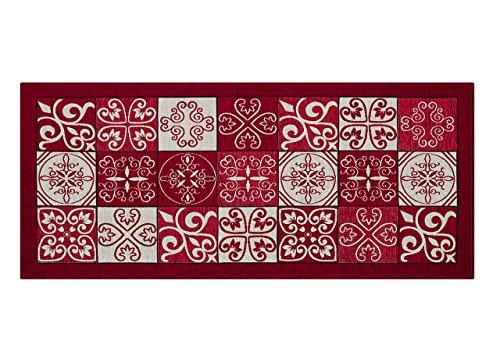 CapitanCasa Tappeto Antiscivolo da Cucina Disegno Maiolica By Suardi 55x280 Rosso