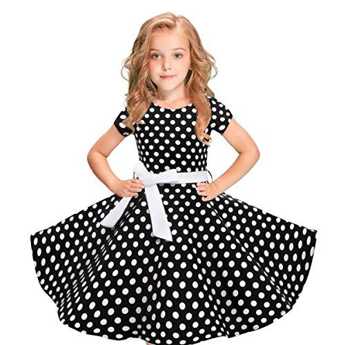 Moneycom - Vestido de verano para niña - Ideal para todo tipo de ocasiones - Diseño de topos Negro 8-10 Años