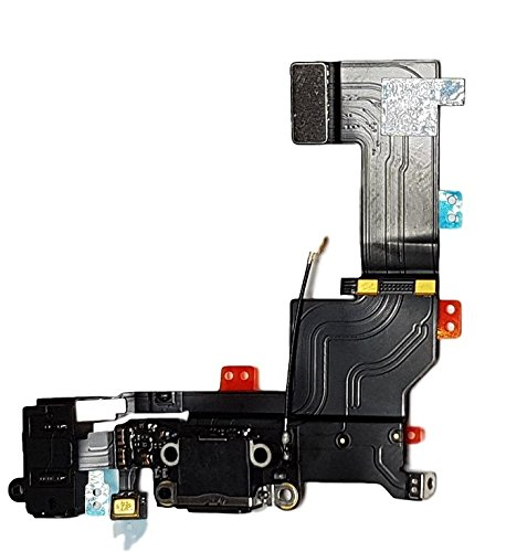 Smartex Conector de Carga de Repuesto Compatible con iPhone 5S Negro – Dock de repeusto con Cable...