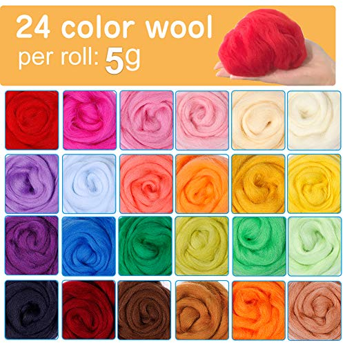 Jupean Needle Felting Kit, Wool Roving (5g/Color), Complete Needle Felting Starter Kit with Basic Felt Tools and Supplies Wool Fibre Spinning Craft Wet Felting Material for Beginners