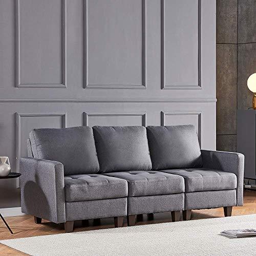 N/Z Tägliche Ausstattung Graues Stoff-Ecksofa-Set für die Linke und rechte Seite Freizeit-Sofa Sessel-Set Retro-Sofa Gepolstertes Sofa Sofa mit Fußschemel für das Büro im Wohnzimmer