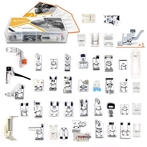 SIMPZIA Sewing Machine Presser Foot Set 43 pcs Sewing Foot Kit with Low Shank Adapter& Manual,Compatible with Brother,Janome,Singer,Elna,Babylock,Toyota,New Home,Simplicity,Necchi,Kenmore, White