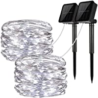 LiyuanQ 100 LED Solar String Fairy Lights with 33 feet 8 Modes Copper Wire Lights Waterproof