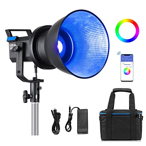 Sokani X60 RGB LED Video Light with APP Control,Max.80W Bi-Color 2800k-10000K CRI96+ TLCI 95+ Bowens Mount Lighting for Photography, Video Recording,Wedding,Outdoor Shooting