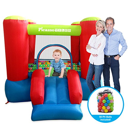 PicassoTiles KC106 8x7 Foot Junior Inflatable Bouncer, Jumping Bouncing House, Jump Slide Playhouse...