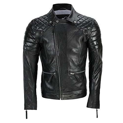 Herren Lederjacke, Vintage-Stil, Biker-Stil, mit Reißverschluss, Schwarz Gr. XXXXXX-Large, Schwarz