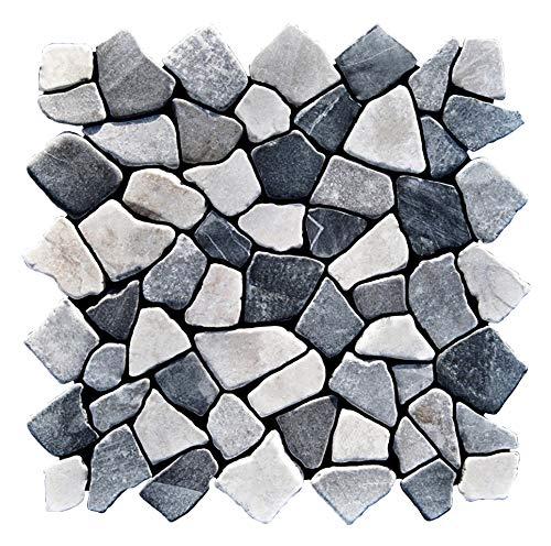 M-1-008 - 1 m² = 11 Fliesen - Naturstein Marmormosaik Bruchstein Mosaikfliesen Lager Verkauf Stein-Mosaik Herne NRW Bad-Design