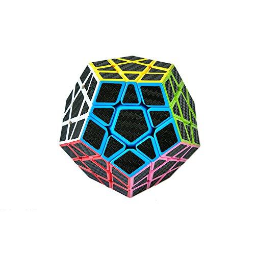 Wings of wind - Smooth Megaminx Cube 2x2x2 Dodecahedron Cube Funny Puzzle Juguetes educativos (Negro) (Fibra de Carbon 3x3)
