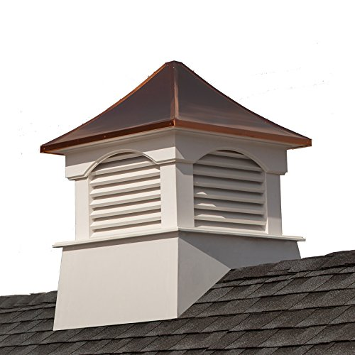 Good Directions Vinyl Coventry Louvered Cupola with Pure Copper Roof, Maintenance Free Solid Cellular PVC Vinyl, 36