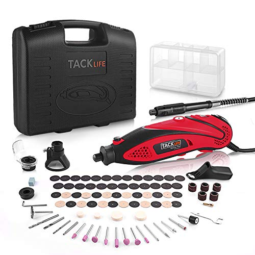 TACKLIFE Rotary Tool Kit Variable Speed with Flex shaft, 80 Accessories and 4 Attachments and Carrying Case, Multi-functional for Around-the-House and Crafting Projects-RTD35ACL-Vintage Red