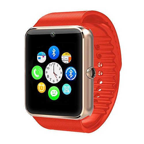 Smart Watch ZOMTOP GT08 Touch Screen Bluetooth Wristwatch with Camera/SIM Card Slot/Pedometer Analysis/Sleep Monitoring for Android (Full Functions) and iOS (Partial Functions)(Gold+Black)