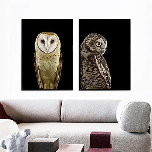 2 pieces Nordic Black and White Canvas Painting Animal Poster Art Print Wall Pictures for Living Room Decor Owl Dog Poster Wall Art 40x60cm Frameless