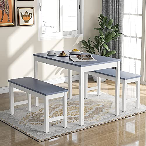 Pine Wood Kitchen Dining Table and 2 Bench Set, Garden Bench Home Furniture Set Dining Room Furniture, Grey