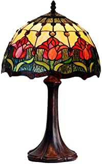 Tiffany Style Red Tulip Table Lamp 12 Inch Color Glass Shade Desk Beside Lamps Living Room Bedroom Desk Restaurant 1 Light