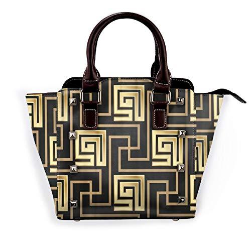 BROWCIN Geometrischer Mäander Schwarzes und goldenes Griechenland griechische Fliesen Gold Abnehmbare mode trend damen handtasche umhängetasche umhängetasche