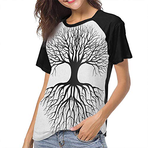 QIAOQIAOLO Tree of Life Slim Female Short Sleeve T-Shirt Breathable Slim-fit Teens