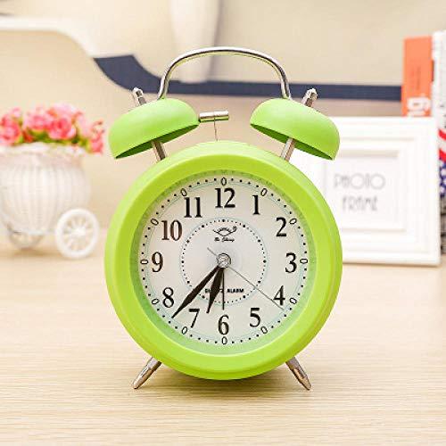 FPRW Wekker Color Caramella, grote wekker met dubbele speler, nachtkastje voor kinderen van 4,5 inch met lampjes, beste cadeau groen