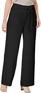 Womens Wide-Leg Tie-Front Dress Pants