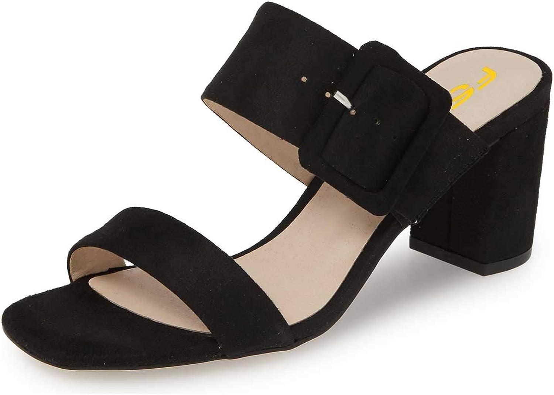 FSJ Women Comfort Block Mid Heel Backless Mules Slip on Sandals Open Toe Clogs Dress Slide shoes Size 4-15 US